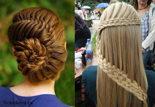 Причёска коса на средние волосы с чёлкой