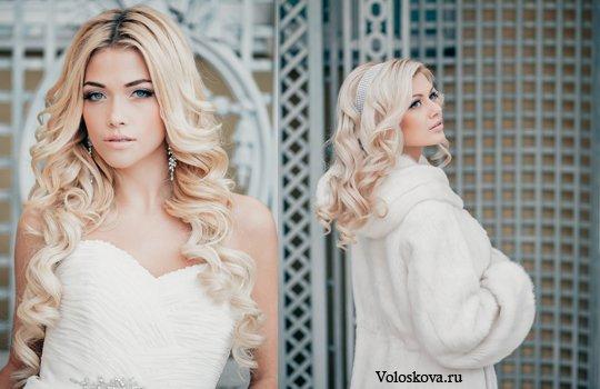 Свадебная причёска на распущенные волосы средней длины
