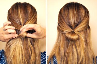 Как делать бантик из волос с распущенными волосами