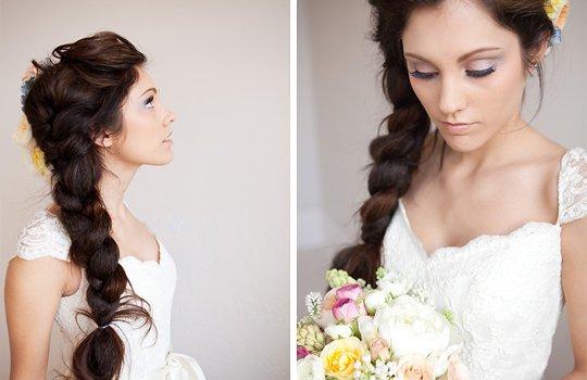 Простые прически на длинных волосах для свадьбы