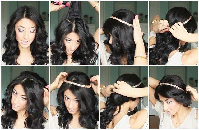 Греческая причёска на длинные волосы с повязкой