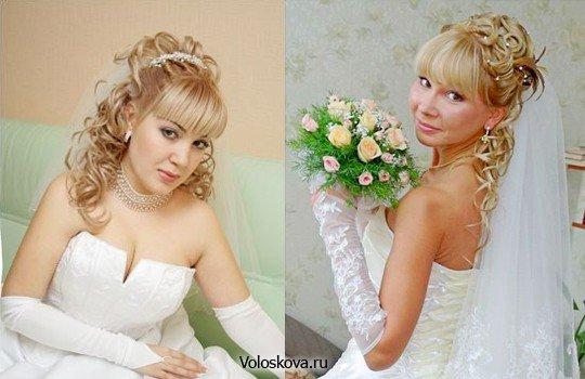 Причёски на свадьбу с прямой челкой