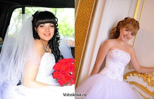 Прическа на свадьбу к подруге с челкой