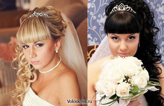 Красивые свадебные прически с челкой