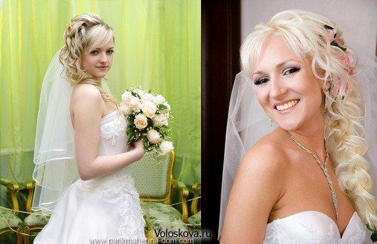 Свадебная причёска с челкой и фатой