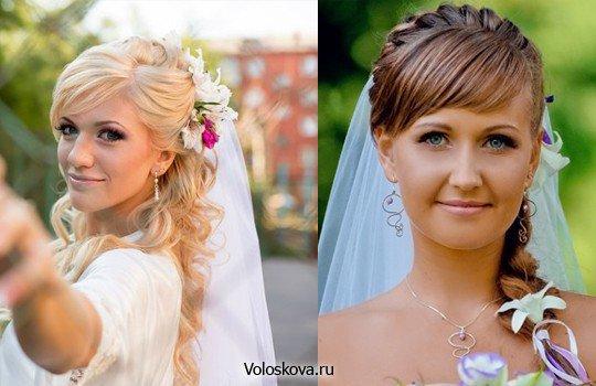 Свадебные прически на длинные волосы с фатой и челкой