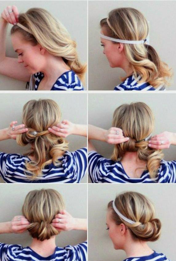 Прическа с заколками на волосы до плеч