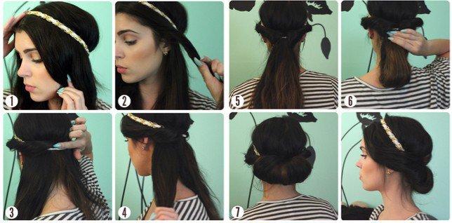 прическа с лентой на длинные волосы