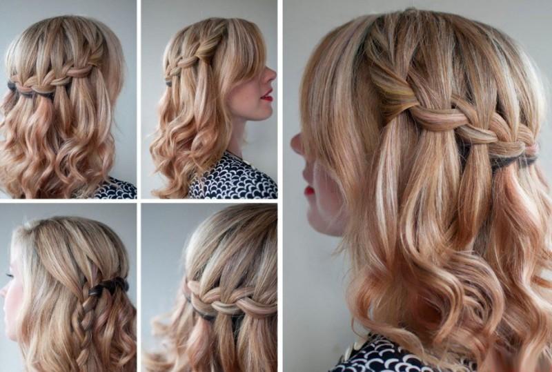 Причёски из кос на средние волосы фото