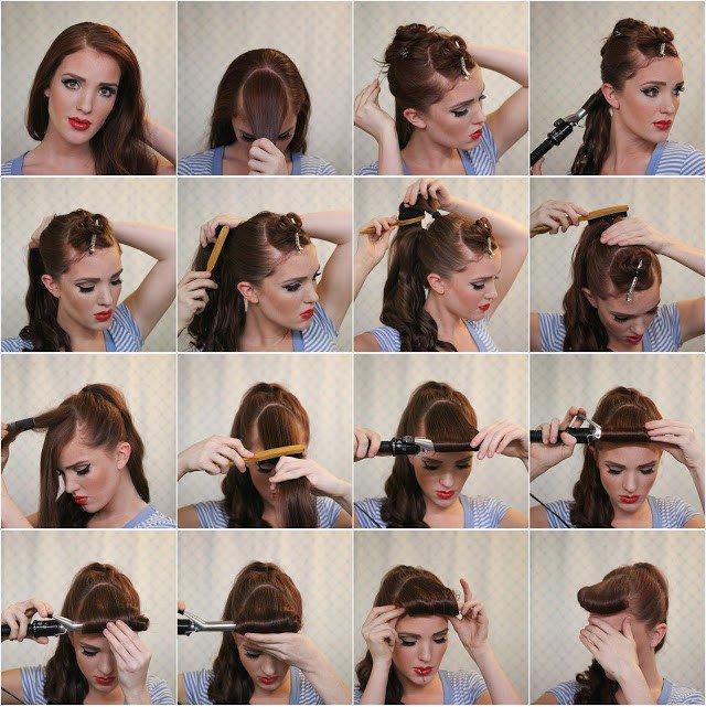 Прическа на средние волосы своими руками пошаговая инструкция фото кудри