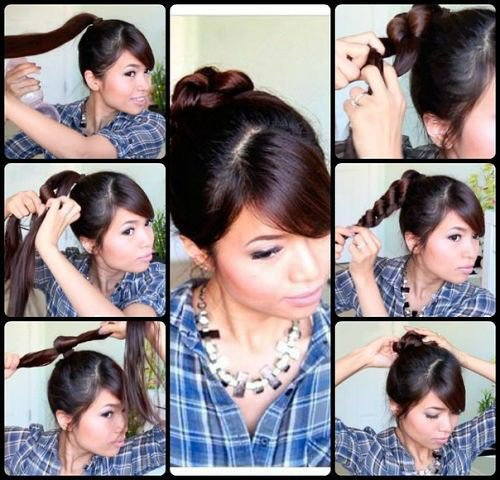 Красивая прическа на средние волосы с челкой своими руками