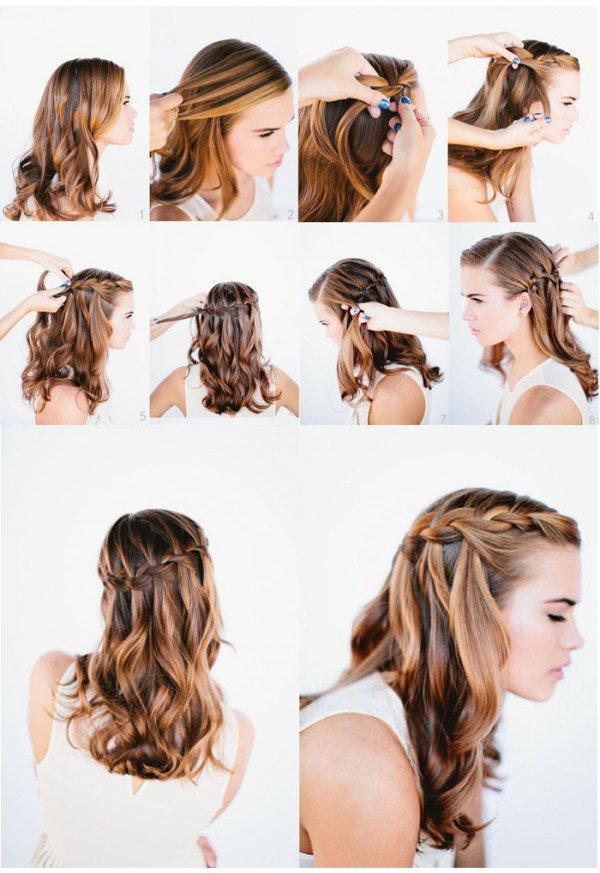 Прическа на бок своими руками для средних волос 37