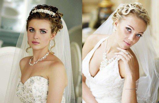 Свадебные прически на средние волосы с фатой для круглого лица