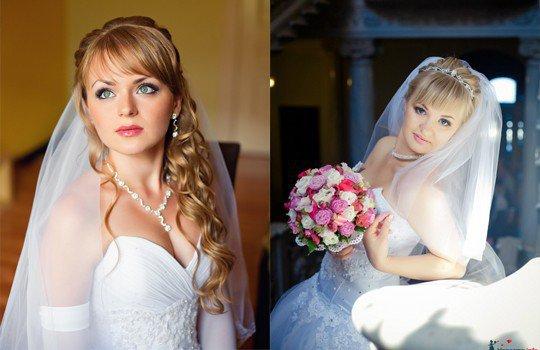 Прическа на свадьбу с фатой с челкой