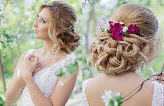 Свадебные прически с цветами в волосах на длинные волосы