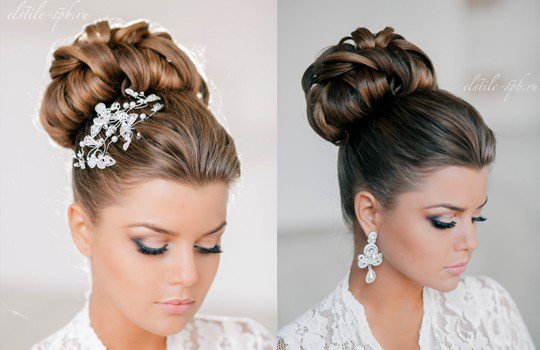 Свадебная прическа волосы наверх