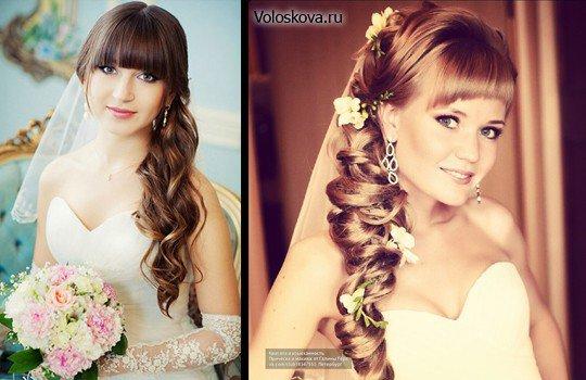 Прическа невесты с челкой и фатой