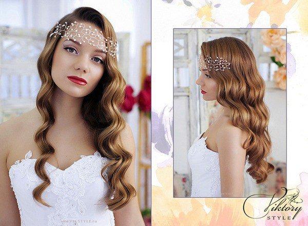 Прически на свадьбу на средние распущенные волосы