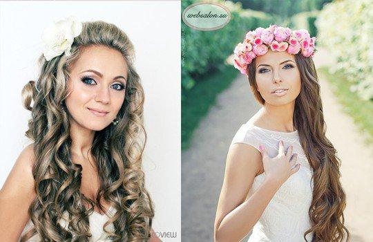 Свадебные причёски на длинные распущенные волосы фото