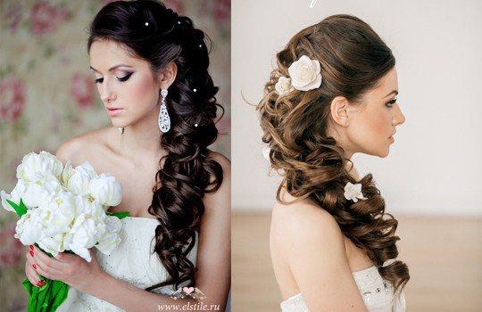 прическа на длинные волосы для свадьбы фото
