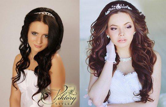 Прически на средние волосы фото свадебные с диадемой