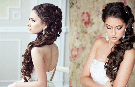 Прически на длинные волосы на свадьбу с диадемой