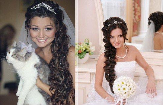 свадебны прически на длинные волосы с деадемой