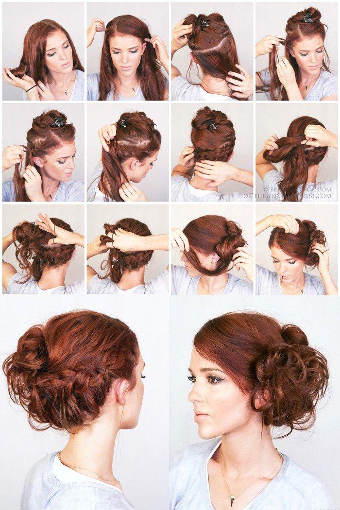 Как сделать быстро красивую прическу с средними волосами 453