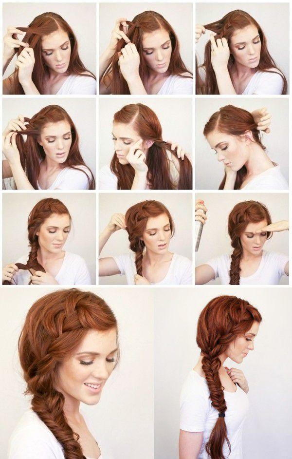 Прически с пошаговым для волос средней длины