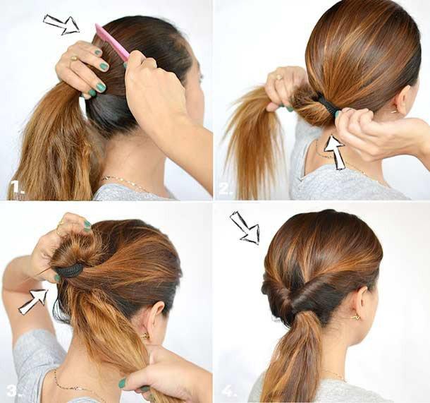 Причёски на полудлинные волосы своими руками фото 379