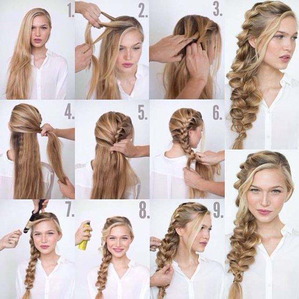 Интересные причёски на длинные волосы на каждый день своими руками 1074