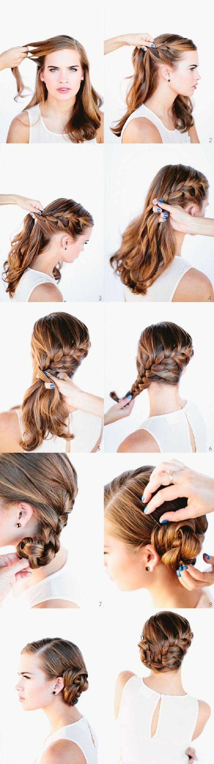 Прическа на средние волосы с челкой своими руками фото