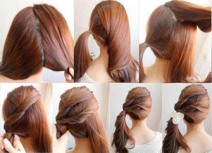 Прическа косичка на среднюю длину волос