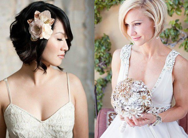 Свадебные причёски на короткие волосы без челки с фатой фото