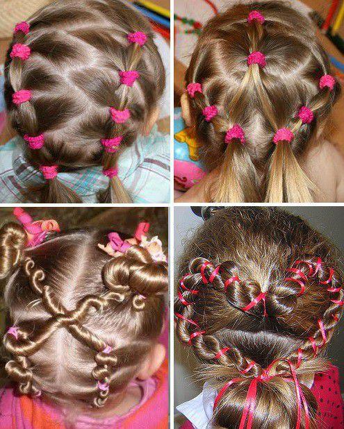 Прически с резиночками для девочки с короткими волосами
