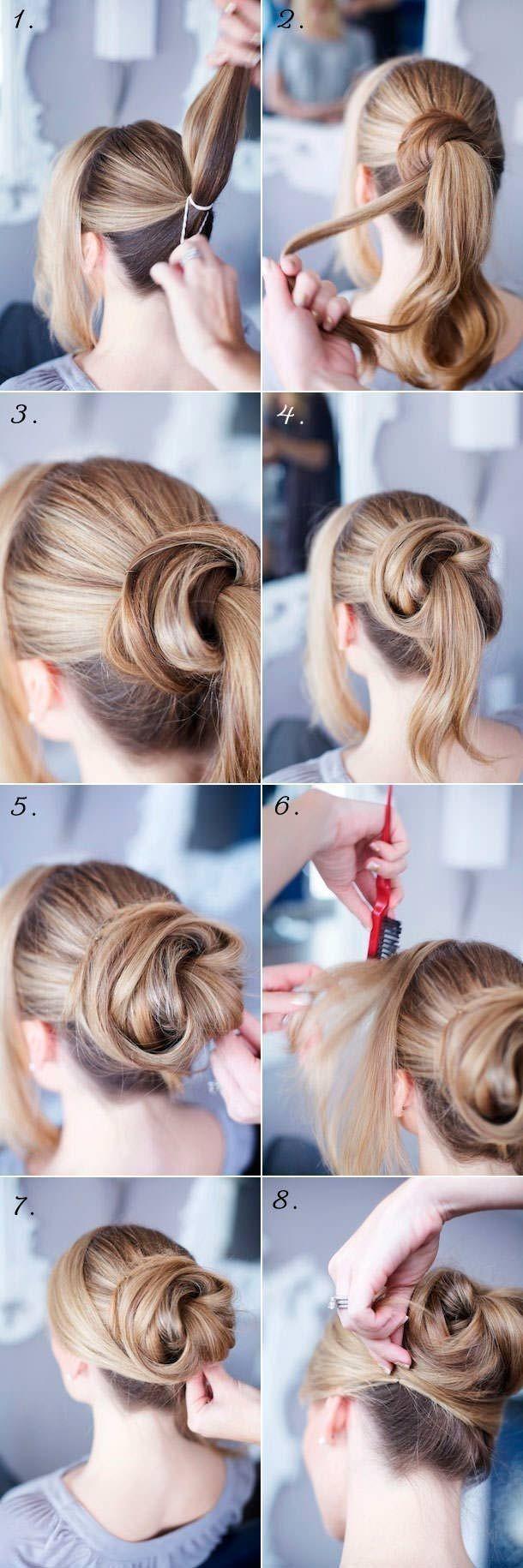 Самые легкие прически пучки для средних волос