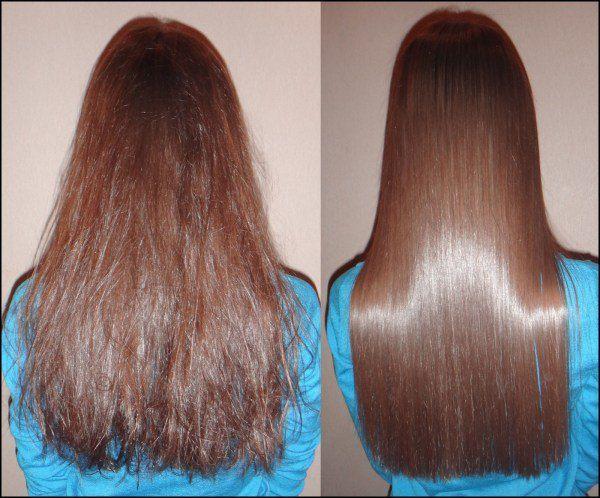 кератиновое выпрямление волос до после