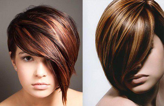 Колорирование на темные волосы на каре фото