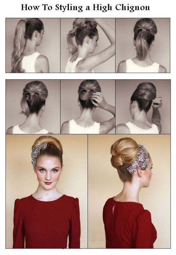 Как самой себе сделать высокую прическу на средние волосы 537