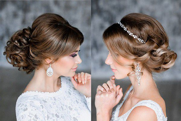 Свадебные прически на темные средние волосы
