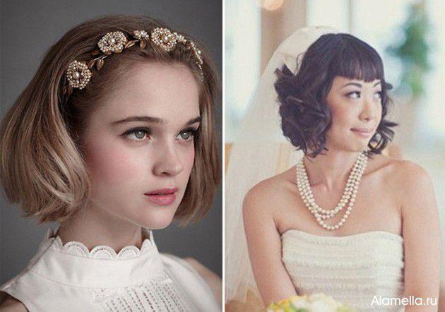 Свадебная прическа с челкой на короткие волосы фото