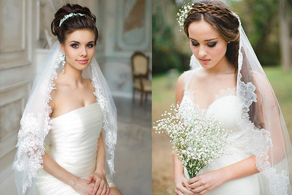 Свадебные прически с фатой фото