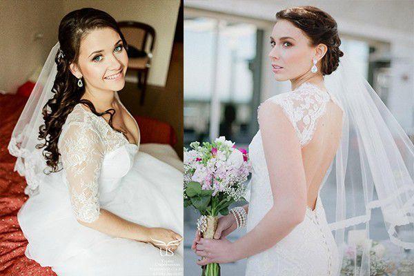 Свадебные прически с на средние волосы с фатой 2017-2018 новинки с