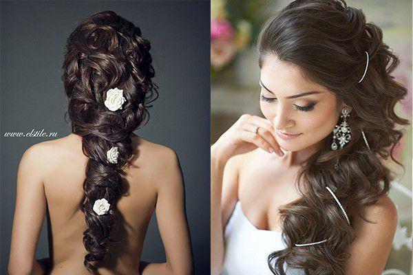 Прически свадебные на черные волосы
