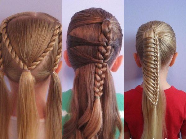 Прическа на длинные волосы своими руками для детей