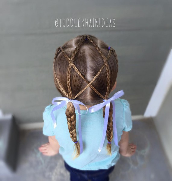 Прическа с ленточкой на длинные волосы фото
