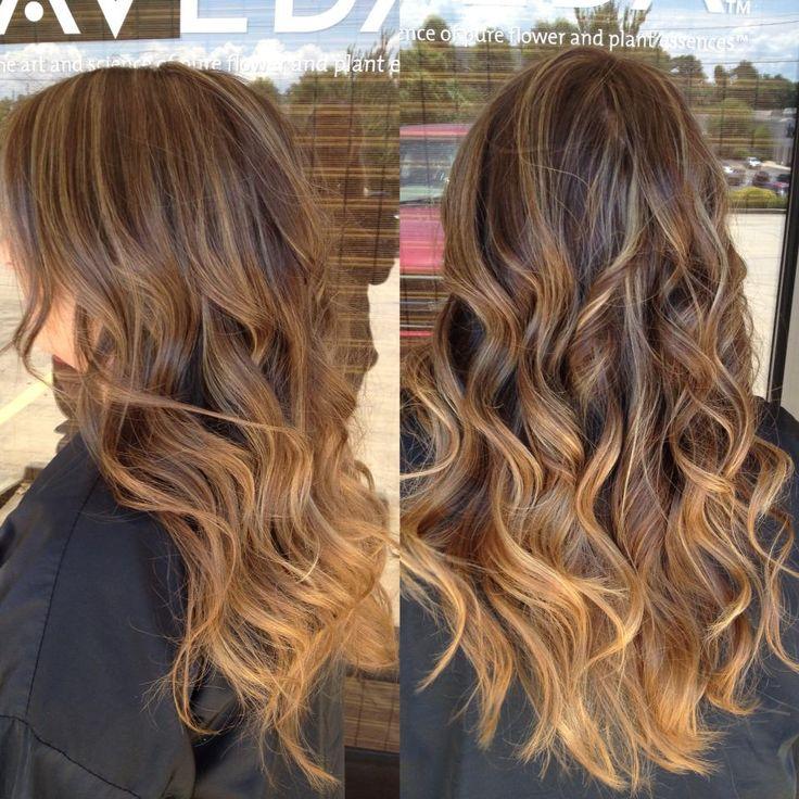 Карамельное омбре на русые волосы