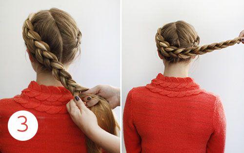 Плетение косы внизу головы