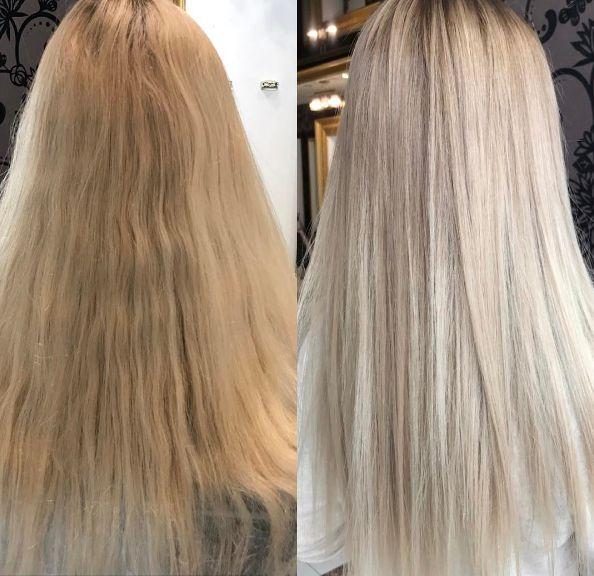 Как убрать желтизну волос после осветления